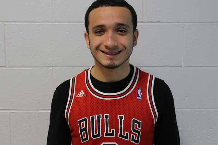 Senior+Anthony+Martinez+wearing+his+Bulls+jersey+proud+in+the+halls.