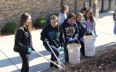 Sophomores participating at the Schiller Park Beautification.