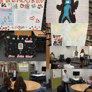 Students present their memoir in the library.