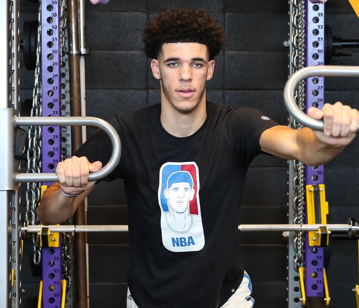 """Lonzo Ball wearing a shirt that has him pictured as """"the face"""" of the NBA."""