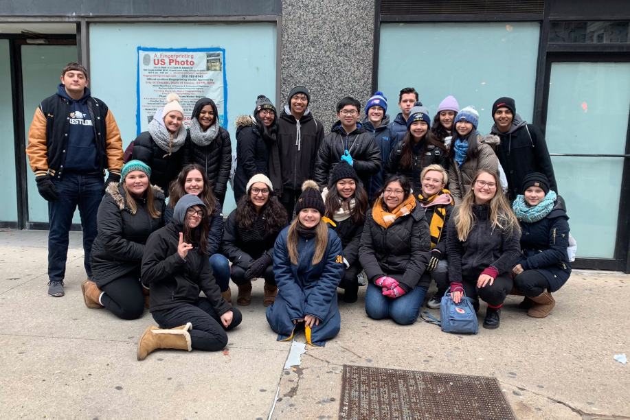 National Honors Society members volunteering at the 2019 Hot Chocolate Race