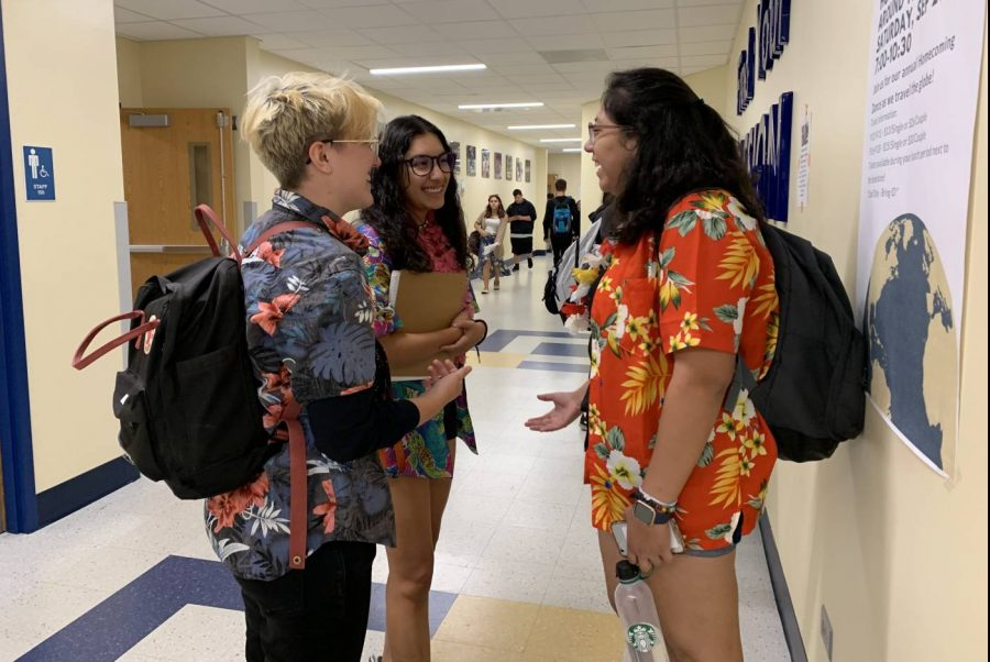 Students showing spirit on Tropical Tuesday